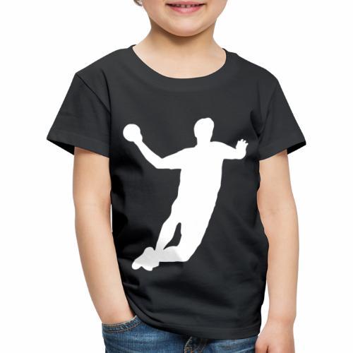 Handball Silhouette weiß - Kinder Premium T-Shirt