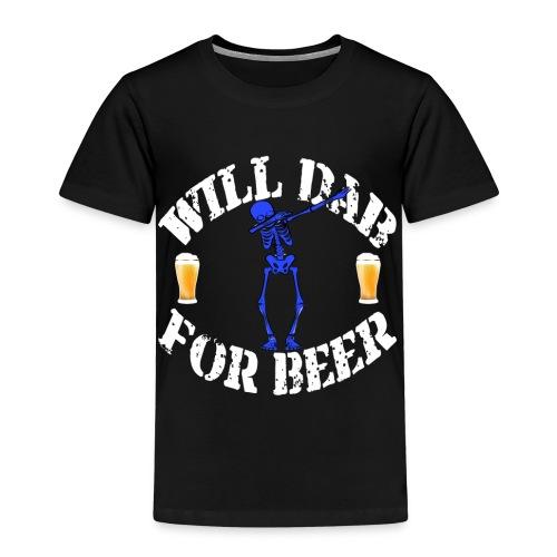 Funny Halloween Blue Skeleton Will For Beer. Beer Lover Gift - Kids' Premium T-Shirt