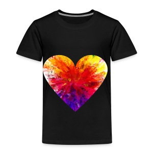 Valentines Day Tee Shirt - Coloured Rainbow Heart - Kids' Premium T-Shirt