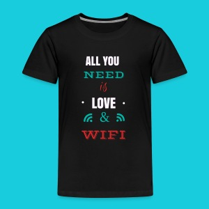Zwapp Designs Love and WiFi - Kinder Premium T-Shirt