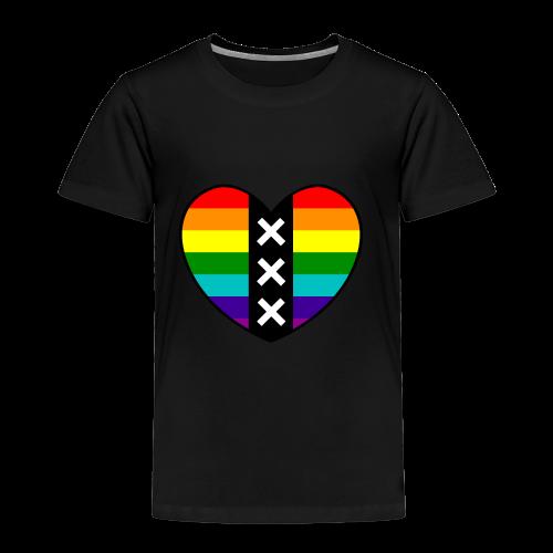 Hart Amsterdam in regenboog kleuren - Kinderen Premium T-shirt