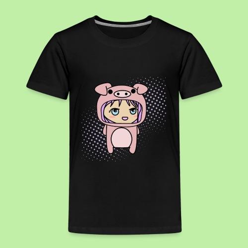 Super kawaii anime kid in piglet outfit - Kids' Premium T-Shirt