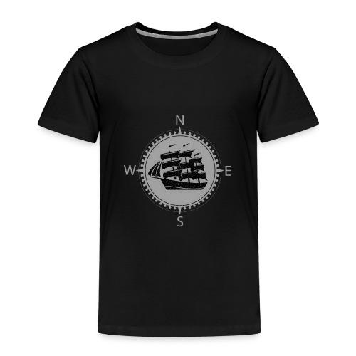 Schiff weiss Kompass Nord Süd - Kinder Premium T-Shirt