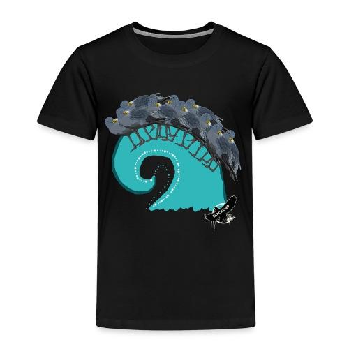 Bird Wave by BlackenedMoonArts, with logo - Børne premium T-shirt