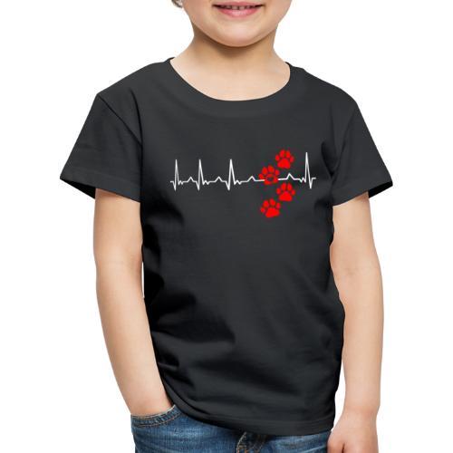 Herz Schlag Hundepfoten Herz Rhythmus Beat Liebe - Kinder Premium T-Shirt