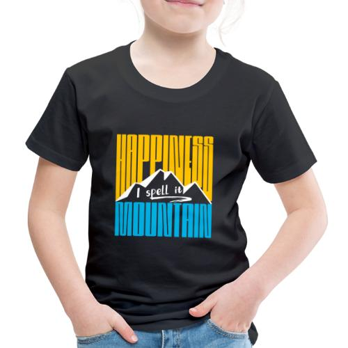 Happiness I spell it Mountain Outdoor Wandern Berg - Kinder Premium T-Shirt
