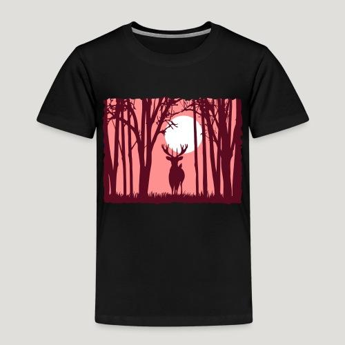 Sonnenuntergang mit Hirsch im Wald Rehbock Natur - Kinder Premium T-Shirt