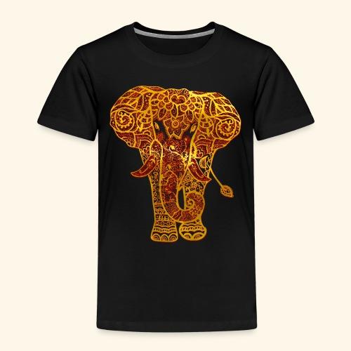 Mehndi Elephant Henna Red and Gold - Kids' Premium T-Shirt