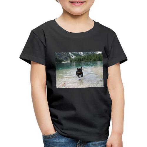 Hund spielt im Wasser - Kinder Premium T-Shirt