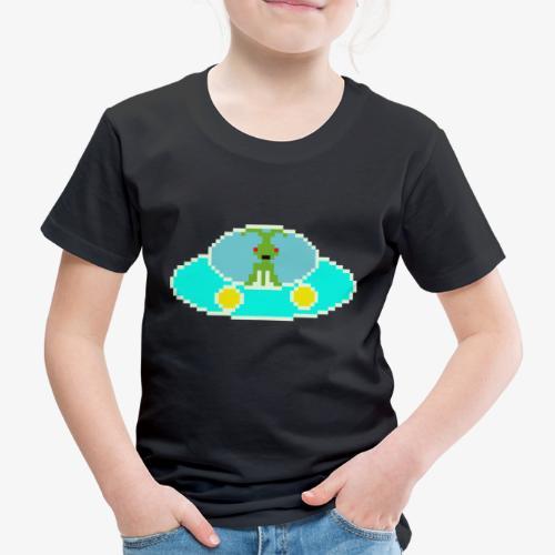 Fliegende Untertasse Pixel Art - Kinder Premium T-Shirt