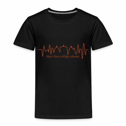 Mein Herz schlägt schwarz orange - Kinder Premium T-Shirt