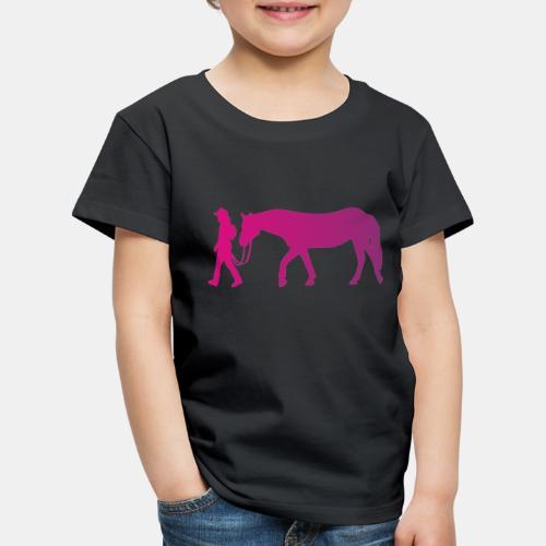 Mädchen führt Pferd, Horsemanship - Kinder Premium T-Shirt