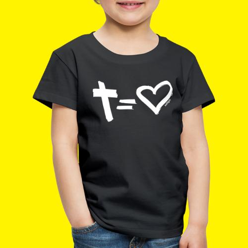 Cross = Heart WHITE // Cross = Love WHITE - Kids' Premium T-Shirt