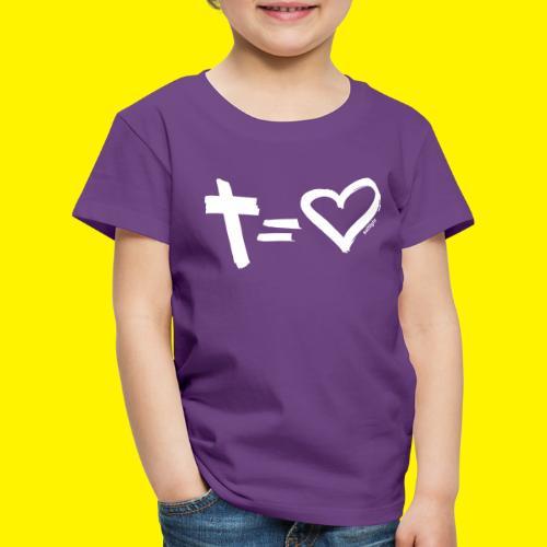 Cross = Heart WHITE // Cross = Love WHITE - Kids' Premium T-Shirt