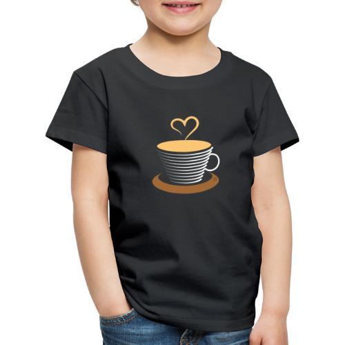 0252 Coffee   Love   Heart   Cup   coffee pot - Kids' Premium T-Shirt