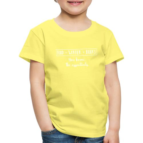 0265 The essentials! Food, water and books. - Kids' Premium T-Shirt
