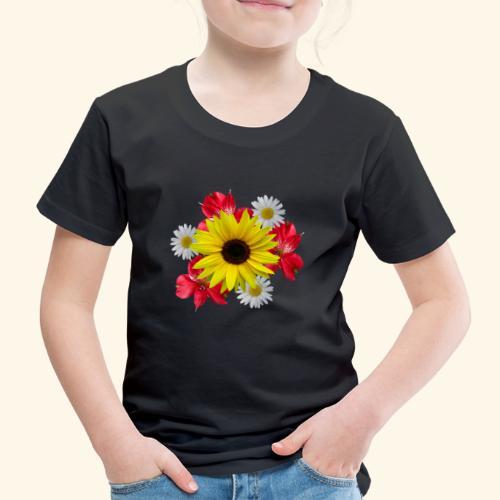 Blumenstrauß, Sonnenblume, Margeriten, rote Blumen - Kinder Premium T-Shirt