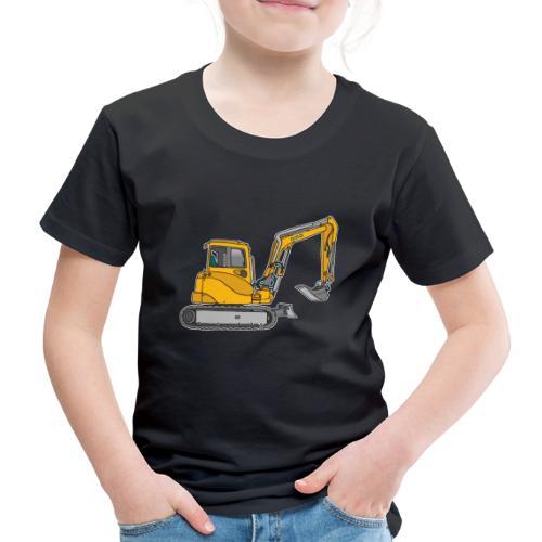 BAGGER, gelbe Baumaschine mit Schaufel und Ketten - Kinder Premium T-Shirt