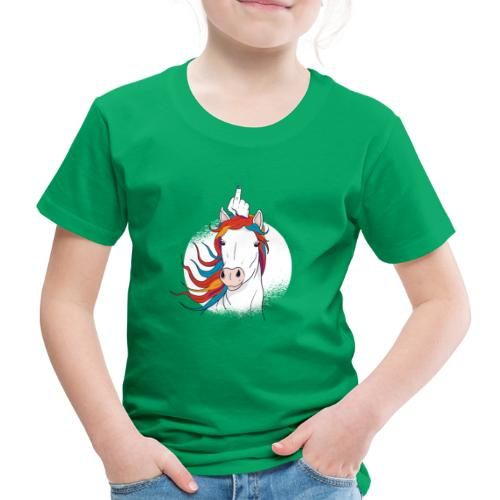 Cartoon Einhorn Mittelfinger Design - Kinder Premium T-Shirt