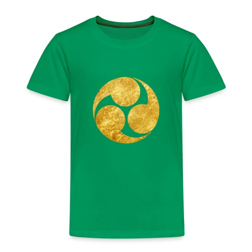 Kobayakawa Mon Japanese clan gold on black - Kids' Premium T-Shirt