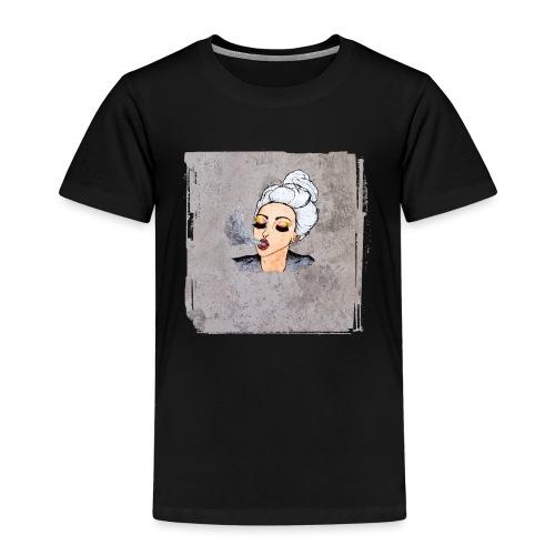 Girl blowing air or else - Kids' Premium T-Shirt