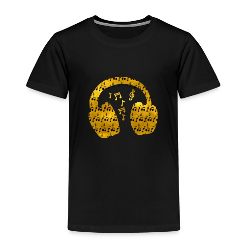 Music Notes HeadPhones Gold - Kids' Premium T-Shirt