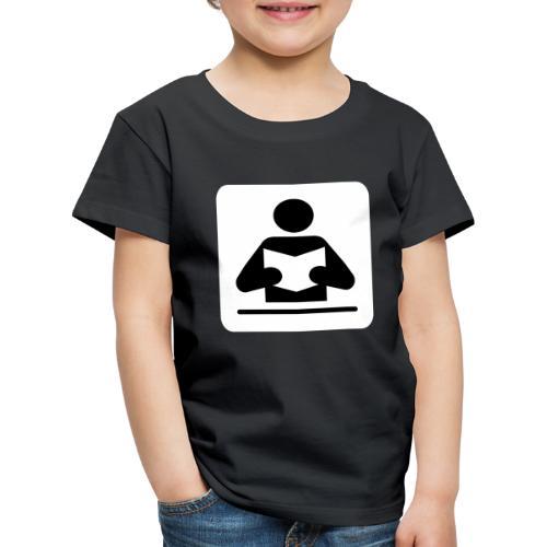 Strichmännchen beim Lesen - Kinder Premium T-Shirt