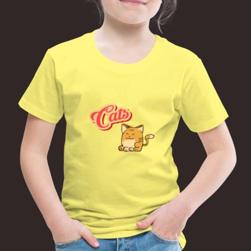 Katze   Katzen süß Schriftzug - Kinder Premium T-Shirt