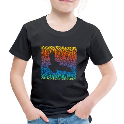 Abstract rainbow predator bird and its prey - Kinder Premium T-Shirt