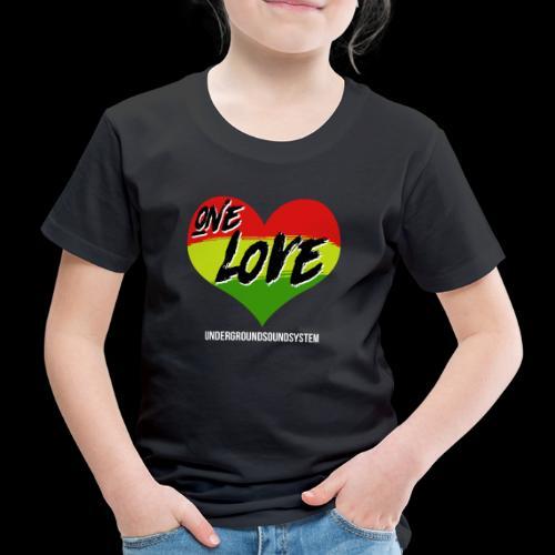 ONE LOVE - HEART - Kinder Premium T-Shirt