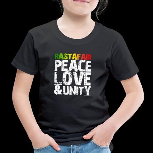 RASTAFARI - PEACE LOVE & UNITY - Kinder Premium T-Shirt