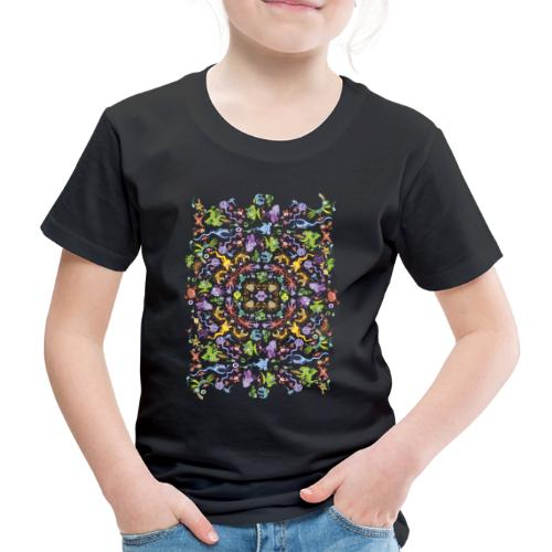 Crazy monsters posing for a colorful pattern - Kids' Premium T-Shirt