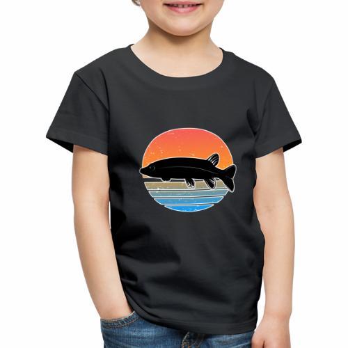 Retro Hecht Angeln Fisch Wurm Raubfisch Shirt - Kinder Premium T-Shirt
