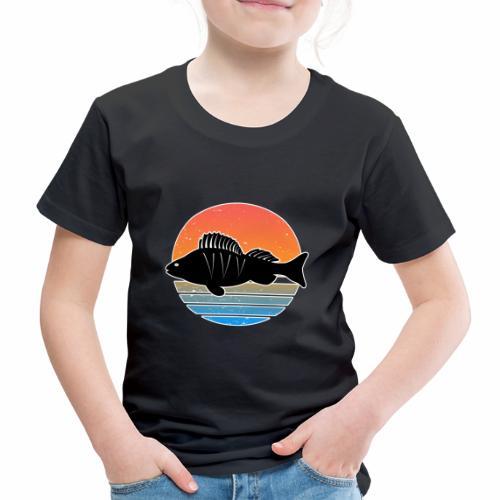 Retro Barsch Angeln Fisch Wurm Raubfisch Shirt - Kinder Premium T-Shirt