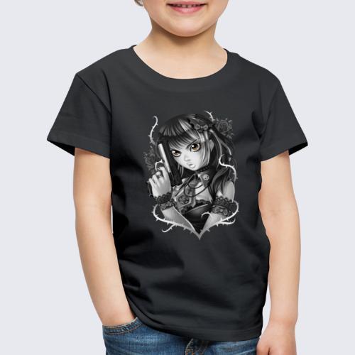 Manga Gun Girl Grey - Kids' Premium T-Shirt