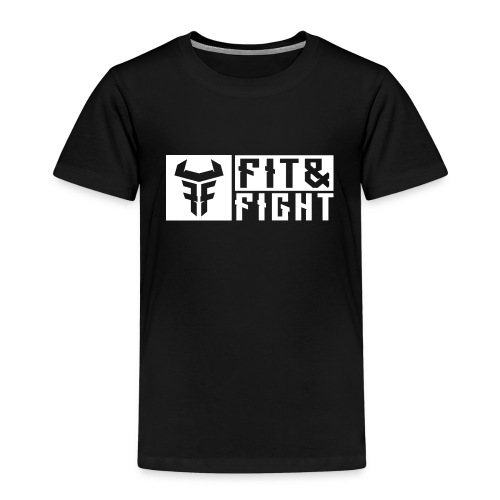 Fit Fight Bull Logo AND Typo white 11758x4598 - Kinder Premium T-Shirt