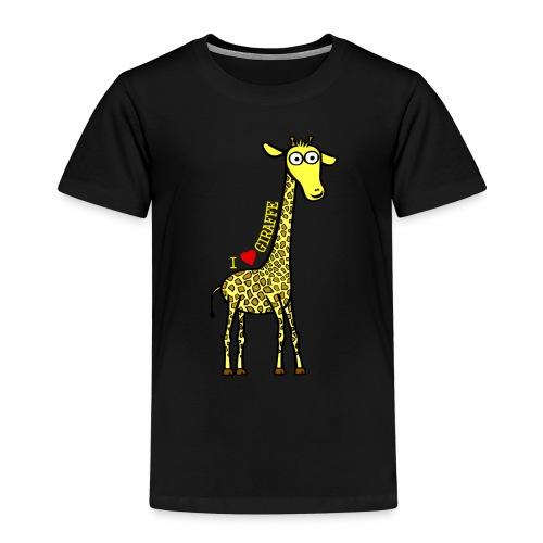 Kocham żyrafę - Żółty napis - Koszulka dziecięca Premium