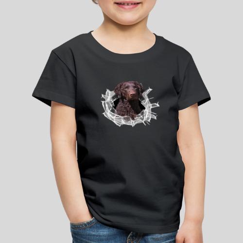 Curly Coated Liver im Glasloch - Kinder Premium T-Shirt