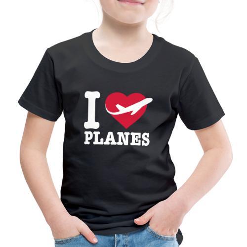 Rakastan lentokoneita - valkoisia - Lasten premium t-paita