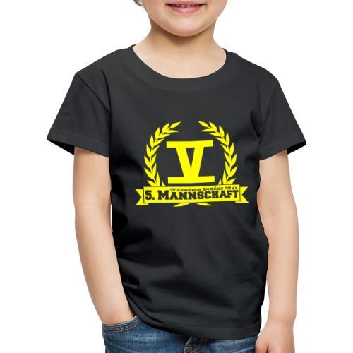V mit College-Schriftzug - Gelb - Kinder Premium T-Shirt