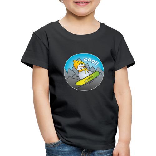 Schneemann auf Snowboard - Kinder Premium T-Shirt