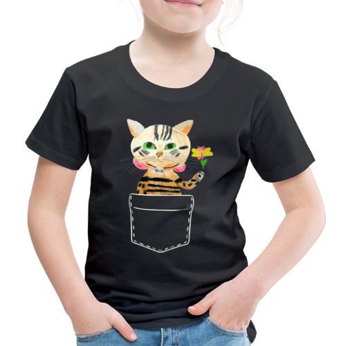 Katze bringt Blume als Geschenk und Glückwünsche - Kinder Premium T-Shirt