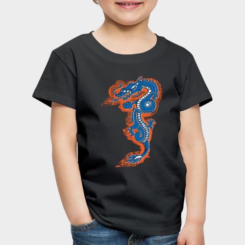 DRAGON AZUL Y NARANJA - Camiseta premium niño
