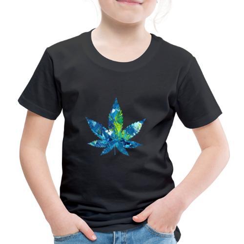 Artful cannabis leaf in acrylic paint - Kids' Premium T-Shirt