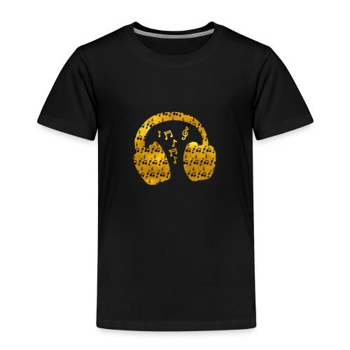 Music Notes HeadPhones Gold - Kids' Premium T-Shirt