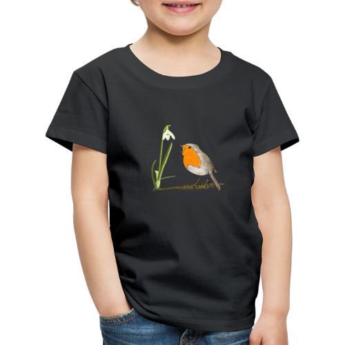Frühling, Rotkehlchen, Schneeglöckchen - Kinder Premium T-Shirt