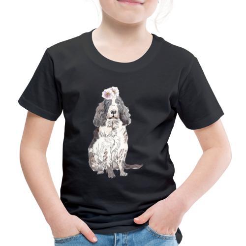 English cocker spaniel with flower - Børne premium T-shirt