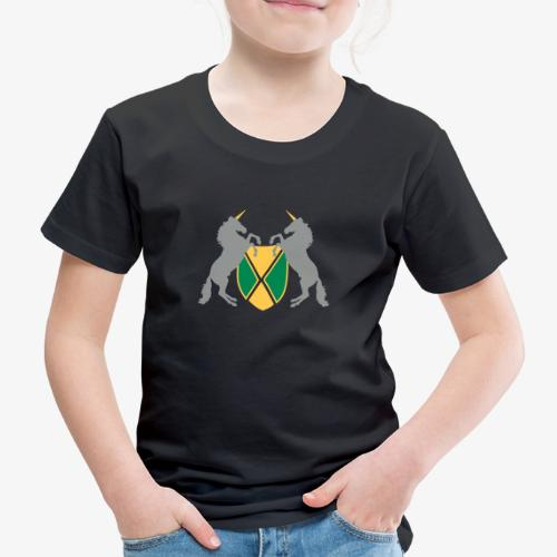 Unicorn Heraldry fantasy shield by patjila - Kids' Premium T-Shirt