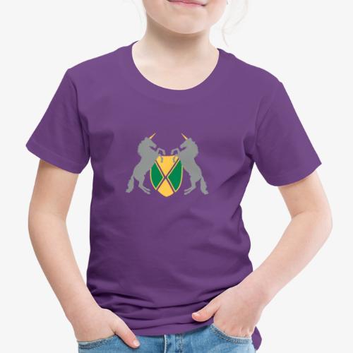 Unicorn Heraldry fantasy shield by patjila - Kids' Premium T-Shirt