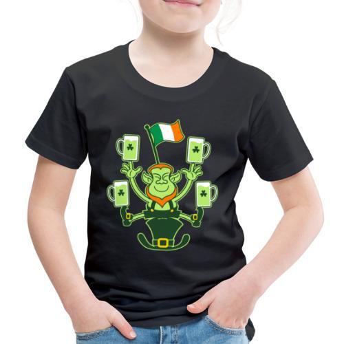 Leprechaun Juggling Beers and Irish Flag - Kids' Premium T-Shirt